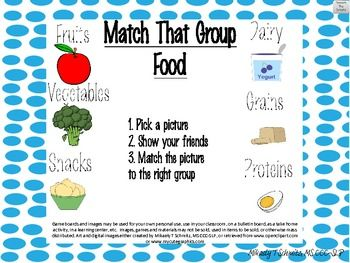 Match That Group Food Game For Naming Sorting Categorizing Eet Support Supportive Food Themes Game Food