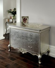 metallic painted dresser. Perfect for entryway. Maybe put a rustic ...