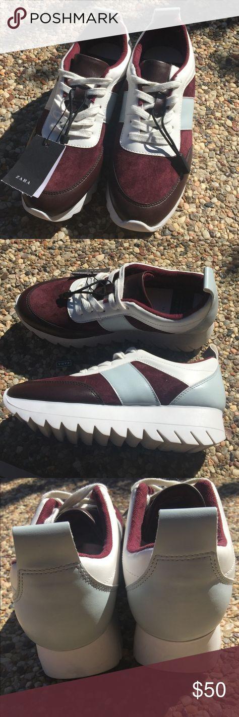 Zara Trafaluc Platform Tennis Shoe Super stylish and comfy athletic platform.  Colors  Burgandy 9b6205d26eb