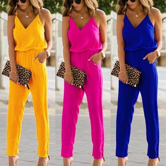 Summer Women Solid Color Spaghetti Strap Kombinezon High Waist Rompers Beach Party Playsuit Vova Jumpsuits For Women Fashion Sleeveless Playsuit