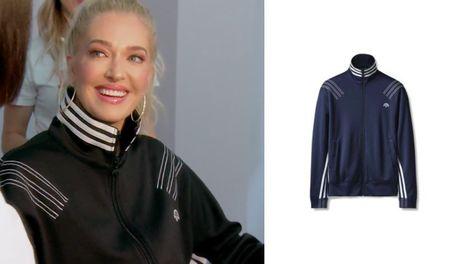 ece4e1581 Erika Girardi's Black Striped Track Jacket