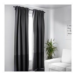IKEA - MARJUN, Block-out curtains, 1 pair, , The curtains prevent most light from entering and provide privacy by blocking the view into the room from outside.Effective at keeping out both drafts in the winter and heat in the summer.The curtains can be used on a curtain rod or a curtain track.The heading tape makes it easy for you to create pleats using RIKTIG curtain hooks.You can hang the curtains on a curtain rod through the hidden tabs or with rings and hooks.