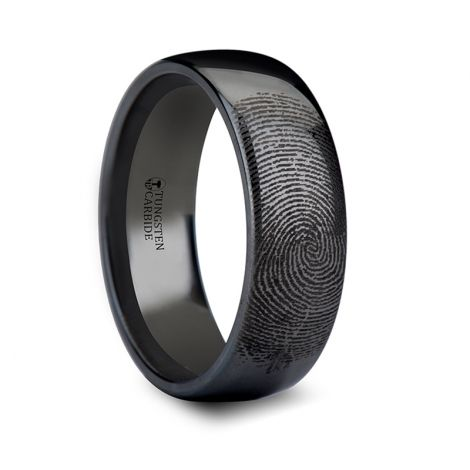 F869 Dpbt Fingerprint Engraved Domed Black Tungsten Ring Polished 4mm 12mm Black Tungsten Rings Fingerprint Ring Black Tungsten Wedding Band