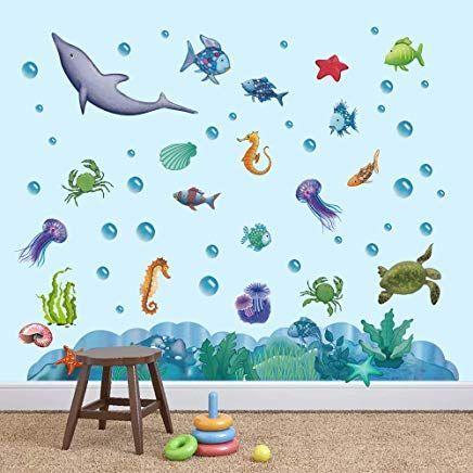Decalmile Wandtattoo Unter Dem Meer Wandsticker Regenbogen Fisch