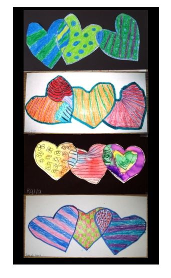 Patterned Hearts - a Math-Integrated Art Lesson, perfect for February, or change the shape to use anytime!