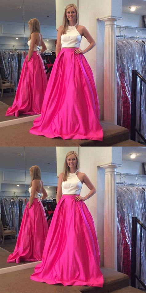 4d22bccada7f Gorgeous Two Piece White and Hot Pink Prom Dress,Prom Dresses BD875  #eveningdresses #eveninggowns #formaleveningdresses #promdresses #ballgowns  ...