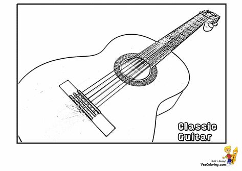 Gibson Acoustic Guitar Coloring Paper At YesColoring