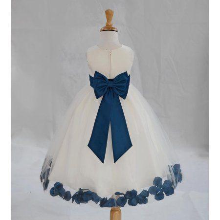 Rose Petals Ivory Tulle Junior Flower Girl Dress Formal Recital Dresses 302T 12