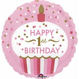 """18/"""" Foil Round Balloon 1st birthday"""
