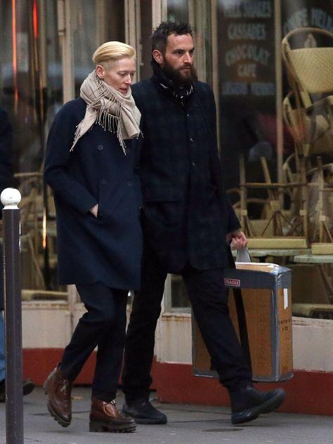 Tilda Swinton Sandro Kopp Photos - Tilda Swinton and her boyfriend Sandro Kopp take a romantic stroll in Paris, France on November - Tilda Swinton and Boyfriend Enjoy Paris