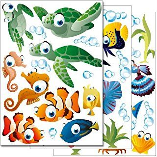 """more than 45 stickers on 3 A4 sheets Wandkings wall stickers /""""Underwater Ocean World/"""" Sticker Set"""