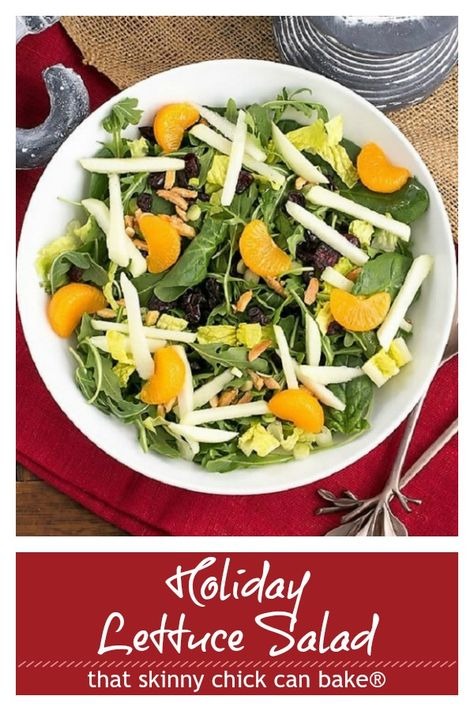 Holiday Lettuce Salad - Easy enough for any time of the year, yet impressive enough for special occasions! #holidays #salad #greensalad #lettucesalad #holidaysalad #Thanksgivingsalad #Christmasrecipe #thatskinnychickcanbake