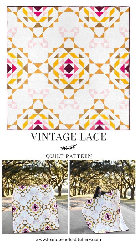 Vintage Last quilt Pattern Quilts Vintage, Antique Quilts, Patchwork Quilt Patterns, Modern Quilt Patterns, Modern Quilt Blocks, Half Square Triangle Quilts, Square Quilt, Flying Geese, Modern Quilting Designs