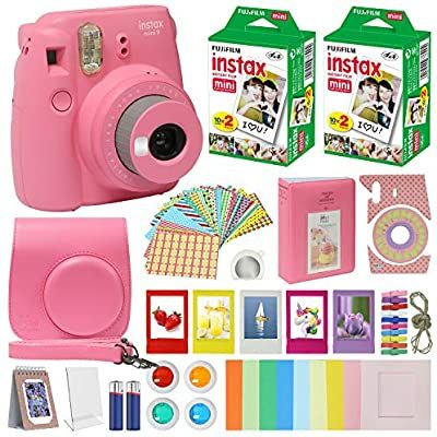Fujifilm Instax Mini 9 Instant Kids Camera Flamingo Pink With Custom Case Fuji Instax Film Value Pack 4 Fujifilm Instax Mini Instax Mini Instax