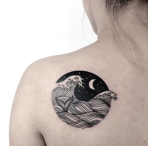 Moon Water Whale Tattoo