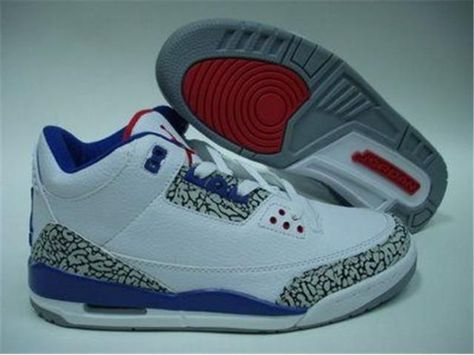 big sale fef0b c4d2a Air Jordan 3 Retro Blue White Cement Grey Sale on ...