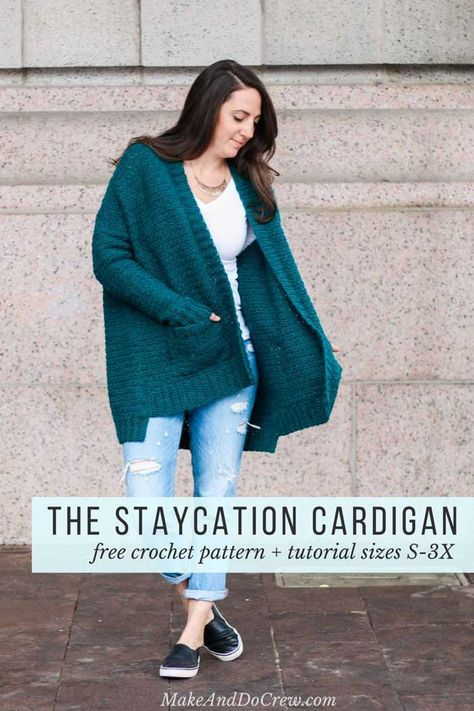 Love this comfy cardigan crochet pattern! Make & Do Crew says: this pattern has extra long fitted sleeves, pockets and an oversized fit for the perfect stylish, yet comfortable fit. Free crochet pattern includes plus sizes too! (Women's size small-3x) This pattern featured Lion Brand Touch of Alpaca yarn in the color