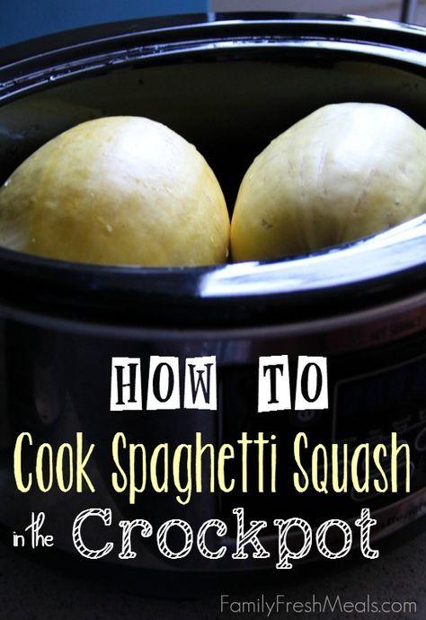 Crockpot Spaghetti Squash - How to Cook Spaghetti Squash in the Crockpot - FamilyFreshMeals.com -