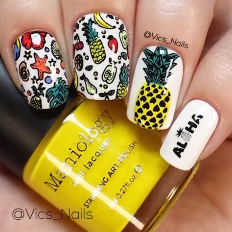 PINEAPPLE THEMED NAIL ART #nails #nailart #stamping - #nailart #nails #pineapple #stamping #themed - #new