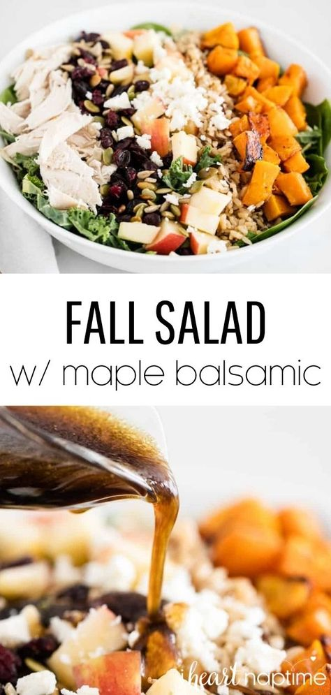 This fall salad is full of fall produce and beautiful fall colors. It has everything you love about fall and is anything but boring. It's super delicious, very filling and comes together quickly! #fall #fallrecipes #fallsalad #salad #saladrecipes #healthy #healthyrecipes #balsamic #balsamicdressing #maple #recipes #iheartnaptime