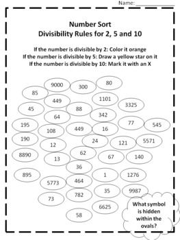 Free Math Printable Divisibility Rules For 2 5 And 10 Number Sort Grades 5 7 Divisibility Rules Free Math Math Printables