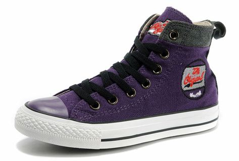 95887c6a640e Cool Converse Womens Embroidery Purple High Tops Limited Edition ...