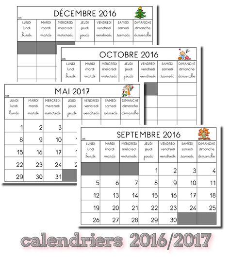 La maternelle de Laurène: Calendriers 2016 - 2017
