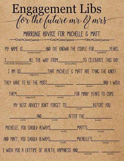 Engagement Libs . Mad Libs . Wedding Mad Libs . Bridal Shower #funnyweddingspeeches