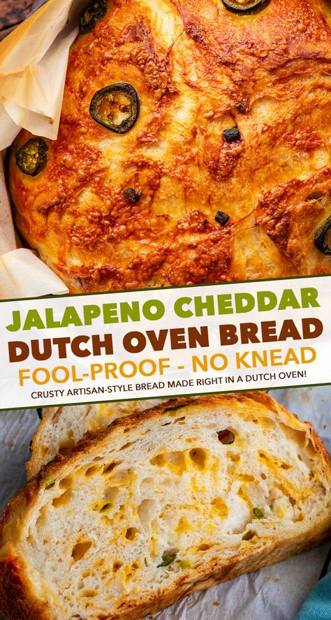 Jalapeno Cheddar Dutch Oven Bread (no knead!) - The Chunky Chef,Jalapeno Cheddar Dutch Oven Bread is perfectly crusty on the outside, with a soft fluffy inside, and is made using simple ingredients. Dutch Oven Bread, Dutch Oven Cooking, Dutch Oven Recipes, Cooking Recipes, Crockpot Recipes, Vegetarian Recipes, Artisan Bread Recipes, Dinner Crockpot, Dutch Ovens