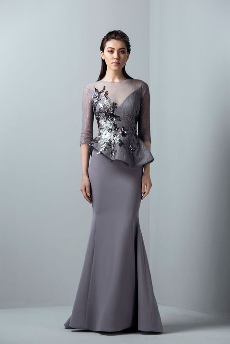 c3ed0d759109 Champagne Lace Stain Peplum Long Evening Formal Wear Dresses 2018 Sheer  Neck Long Sleeve Dubai Arabic Mermaid Prom Dress Saiid Kobeisy in 2018