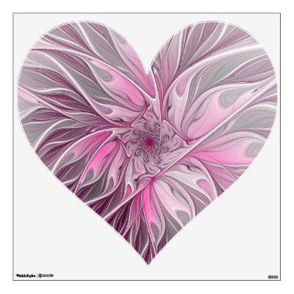 Fractal Pink Flower Dream Floral Fantasy Art Heart Wall Decal Zazzle Com Heart Wall Decal Flower Wall Decals Fantasy Art