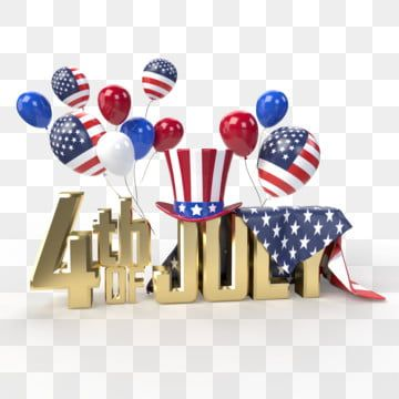 Happy 4th Of July Usa Independence Day Golden Text With Multi Colored Balloons July 4th Clipart Patriot Stars Png Transparent Clipart Image And Psd File For 4th Of July Clipart