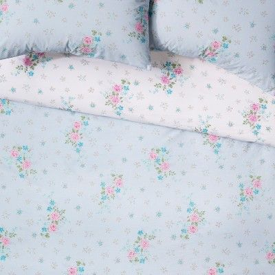 Full Queen Lily Rose Duvet Cover Set Blue Simply Shabby Chic Blue Green Pink Shabby Chic Diy Rose Duvet Cover Simply Shabby Chic