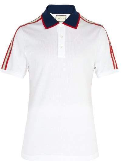 Cotton Piqué Polo Shirt Gucci Matchesfashion Us Pique Polo Shirt Mens Shirts Polo Shirt