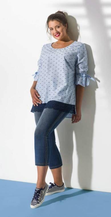 Mona Lisa T-Shirt Longshirt Damen kurzarm große Größen Grau Bunt kurzarm A-Linie