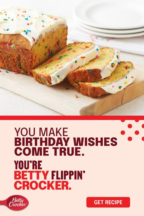 Birthday cake? Too easy. How about a dessert idea that takes Betty Crocker cake mix, adds rainbow sprinkles, and turns it into the sweetest birthday bread loaf you've ever seen? Now we're talking. Plus, when your birthday cake doubles as a bread loaf, no one will question if you have it for breakfast and lunch!
