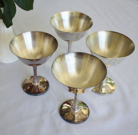 Vintage Salem Goblets Stemmed Silver Plated by RomantiqueTouch, $40.00