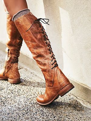 Vintage Shoes Fashion Back Lace-up Boots Women Side Zipper Retro Low Heel Boots