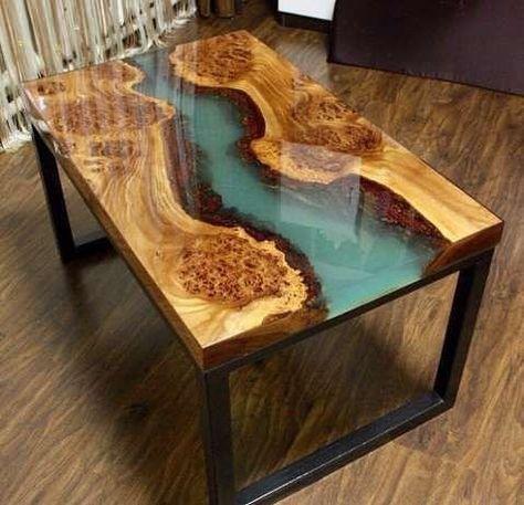 Resin Inlay Wood Table Liveedge Realwood Resintable Artisitc