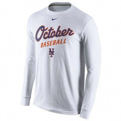 Men S Nike White New York Mets October Baseball Playoff Long Sleeve T Shirt Baseballplayoffs Baseball Playoffs Baseball Pants New York Mets