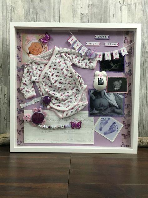 Baby birth shadow box, designed by Bea's, www.babybauch-abd… Baby birth shadow box, designed by Bea's, www. Shadow Box Baby, Newborn Shadow Box, Diy Shadow Box, Memories Box, Baby Memories, Baby Frame, Baby Memory Frame, Baby Box Frame Ideas, Baby Keepsake