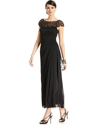 0a90c35fd Xscape Petite Cap-Sleeve Beaded Gown & Reviews - Dresses - Petites - Macy's