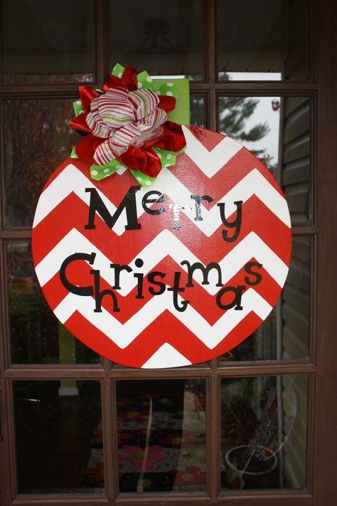 Hand painted wooden ornament door hanger.  Love the chevron pattern!