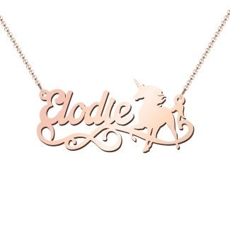 10k Rose Gold Unicorn Name Necklace Jewlr Pear Shaped Diamond Necklace Diamond Necklace Round Gold Bar Necklace