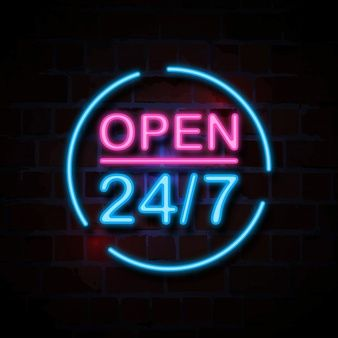 Open 24 7 Neon Style Sign Illustration Neon Signs Neon Sign Art Led Neon Signs