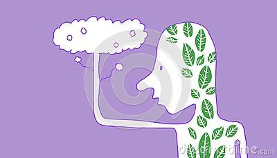 Figure Of Person With Leaves In His Silhouette Violet Background