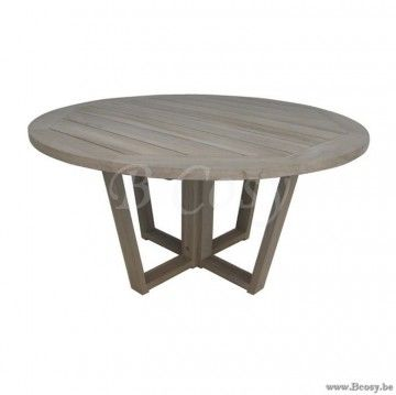 Gescova Hamilton round table| Ronde Grey washed O ...