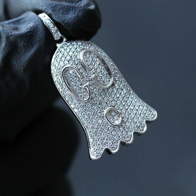 Hamsa Hand Infinity Pendant Necklace Solitaire Simulated Diamond 925 Silver Iced Out