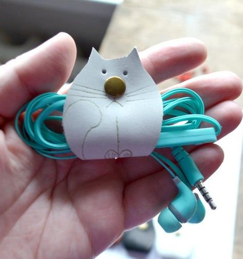 leather cord organize white cat lover gift earphone headphone holder leather tech organize accessory cable organize gift under 10