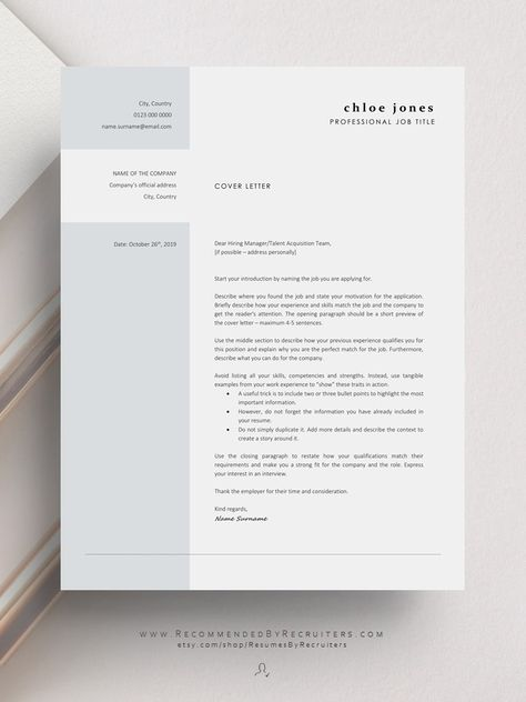Business Resume Template Instant Download Modern And Etsy In 2020 Cover Letter Design Cover Letter For Resume Cover Letter Example Templates
